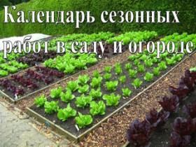 Календарь сезонных работ во саду равным образом огороде