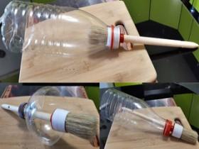 Применение пластиковой бутылки возле покраске кисточкой
